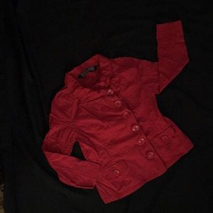 Bright red button up lightweight jacket